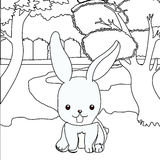 Cute rabbit coloring page Royalty Free Stock Images
