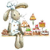 Cute rabbit and cupcakes. Watercolor bunny. Stock Photo