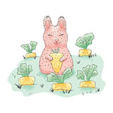 Cute rabbit. Hand drawn. Children`s vector cartoon illustration Stock Photo