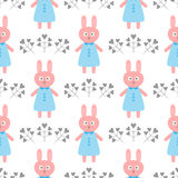 Cute rabbit in a dress. Flowers in the form of hearts. Cartoon seamless pattern. Vector illustration. White, blue, pink, dark gray Royalty Free Stock Photo