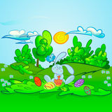 Cute rabbit with Easter. Background vector illustration