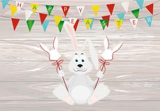 Cute rabbit with easter bunnies on a stick with red bows. Garland of multi-colored flags. Invitation to a holiday. Vector on wood. En background. Free space for royalty free illustration