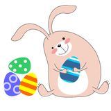 Cute rabbit with easter egg. Isolated royalty free illustration