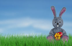 Cute Rabbit and easter eggs. 3d render Stock Image