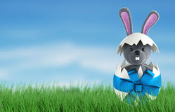 Cute Rabbit and easter eggs. 3d render Royalty Free Stock Photos