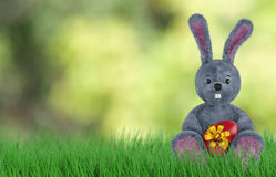 Cute Rabbit and easter eggs. 3d render Royalty Free Stock Photography