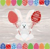 Cute rabbit with of Easter eggs on stick. Happy hare. An invitation to a holiday. Vector on wooden background. Free space for text.  stock illustration