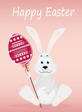 Cute rabbit with of Easter eggs on stick. Happy hare. An invitatiion. Cute rabbit with of Easter eggs on stick. Happy hare. An invitation to a holiday. Vector Royalty Free Stock Photo
