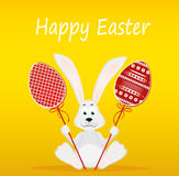 Cute rabbit with of Easter eggs on stick. Happy hare. An invitation. To a holiday. Vector. Free space for text Royalty Free Stock Images
