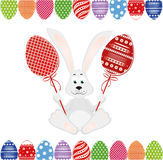 Cute rabbit with of Easter eggs on stick. Happy hare. An invitation. To a holiday. Vector. Free space for text Stock Photos
