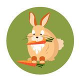 Cute Rabbit Eating a Carrot Vector Stock Image