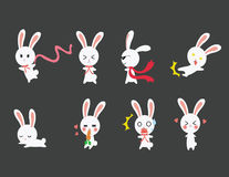 Cute Rabbit emotional icons Stock Photos