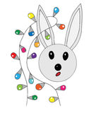 Cute rabbit with festive garland. On the white background. For card, child magazine, invitation, posters, texture backgrounds, placards, banners Royalty Free Stock Images