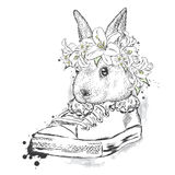 Cute rabbit in a flower wreath. Hare sitting in sneakers. Stock Photo