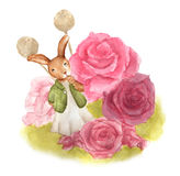 Cute rabbit with flowers in vintage style. On white background , with clipping path ,watercolor illustration, Wonderland, Vintage postcard. Easter bunny Stock Images