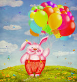 Cute rabbit flying with colorful balloons to the sky Stock Photos