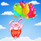 Cute rabbit flying with colorful balloons to the sky Stock Photography