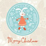 Cute rabbit girl. Christmas card Royalty Free Stock Images
