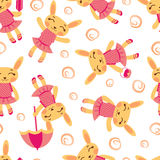 Cute rabbit girls pattern Royalty Free Stock Photo
