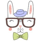 Cute rabbit in glasses and hat poster Stock Images