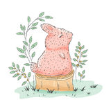 Cute rabbit. Hand drawn. Children`s  cartoon illustration Stock Image