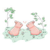 Cute rabbit. Hand drawn. Children`s  cartoon illustration Stock Photos