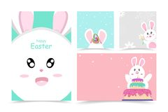 Cute rabbit, Happy Easter card, cover book, greeting poster, banner cartoon character background vector illustration royalty free illustration