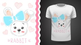 Cute rabbit with heart - idea for print t-shirt stock illustration