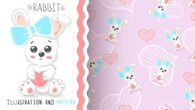 Cute rabbit with heart - seamless pattern stock illustration
