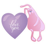 Cute rabbit and heart solated on white background. I love you lettering and heart. Vector illustration Royalty Free Stock Photo
