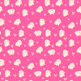 Cute rabbit and hearts illustration, seamless pattern on pink background Stock Photos