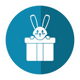 Cute rabbit hiding gift box surprise shadow Royalty Free Stock Images