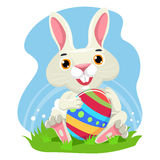 Cute Rabbit holding Easter Egg Royalty Free Stock Photos