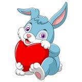 Cute rabbit holding red hat vector illustration