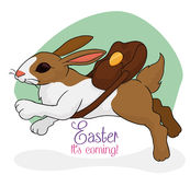 Cute Rabbit Jumping to Easter Celebration, Vector Illustration Royalty Free Stock Images