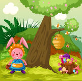 Cute rabbit in the jungle royalty free illustration
