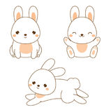 Cute rabbit. Kawaii Bunny. White hare sitting and jumping. Cartoon animal character for kids, toddlers and babies fashion Royalty Free Stock Photos