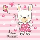 Cute rabbit love summer stock photography