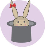 Cute rabbit in magic hat. Royalty Free Stock Photography