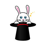 Cute rabbit with magic hat Stock Image