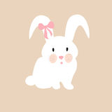 Cute rabbit with pink bow, illustration, set for baby fashion Stock Image