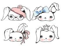 Cute rabbit portraits Royalty Free Stock Image