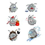 Cute rabbit set. Grey funny rabbit with presents, hearts, skiing, rabbit pirat, crying and sick rabbit. royalty free illustration