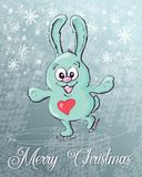Cute rabbit skates, Christmas background. Vector illustration. Hand draw Stock Photo