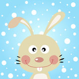 Cute rabbit with snowy background Stock Image