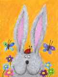 Cute rabbit in the spring with ladybug on his head. Acrylic illustration of cute rabbit in the spring with ladybug on his head Royalty Free Stock Photos