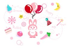 Cute rabbit story collection, celebration, party and holiday pin stock illustration