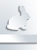 Cute rabbit symbol over blank label Royalty Free Stock Images