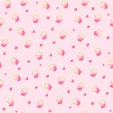 Cute rabbit in teacup and hearts illustration, seamless pattern on pink background Stock Photo