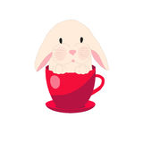 Cute rabbit in teacup, illustration, set for baby fashion Royalty Free Stock Image